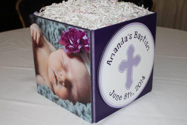 Photo Cube Centerpieces - Baptism Photo Cube Centerpiece