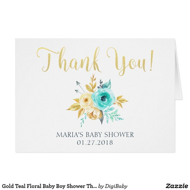 customizable editable gold teal floral baby boy shower thank you cards print your own