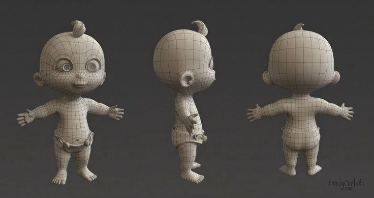 Heidy Curbelo. 3D, Diseño y Animación.: Bebé Cartoon / Cartoon Baby