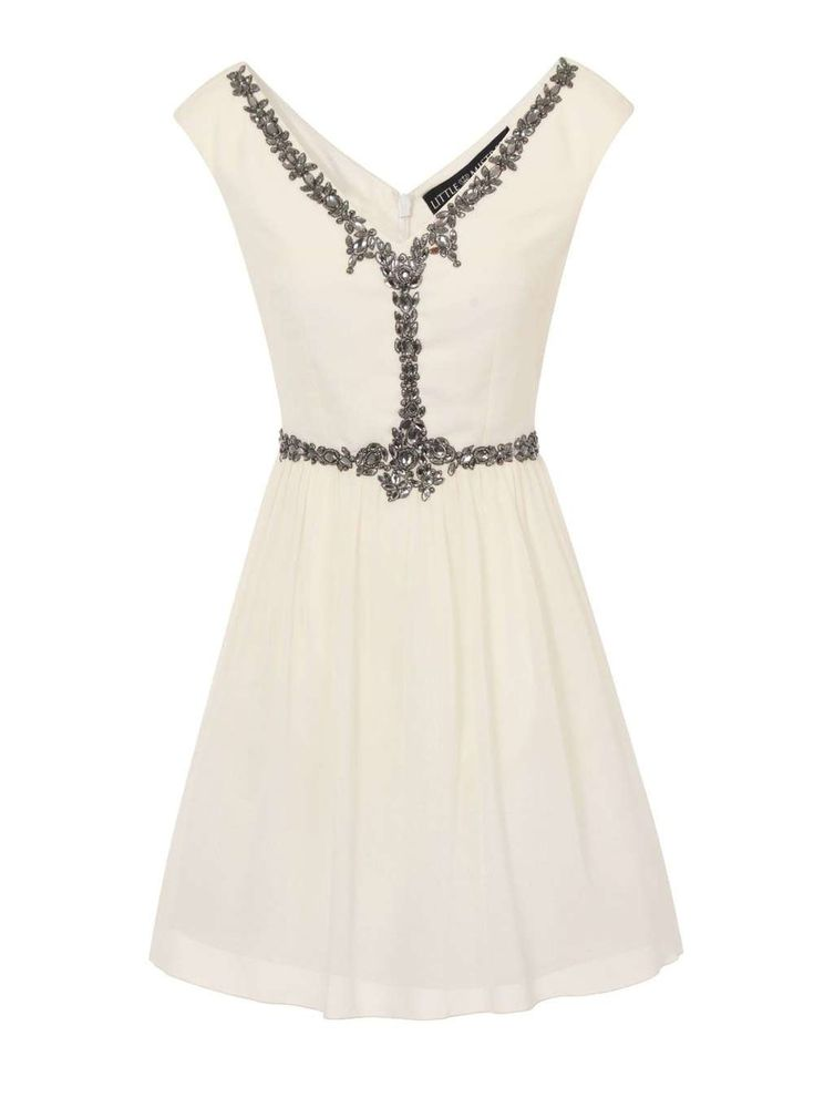 Dorothy Perkins Womens **Little Mistress Cream embellished front Little Mistress cream mini dress with embellished front detail. 100% Polyurethane. Machine washable. http://www.MightGet.com/january-2017-13/dorothy-perkins-womens-little-mistress-cream-embellished-front.asp