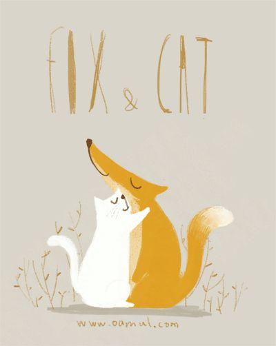 Fox + Cat   -   gif   -   Oamul Lu 卤猫    -    http://www.oamul.com/    -   -   Real Life: http://www.huffingtonpost.com/2013/11/14/fox-cat-friendship_n_4268629.html