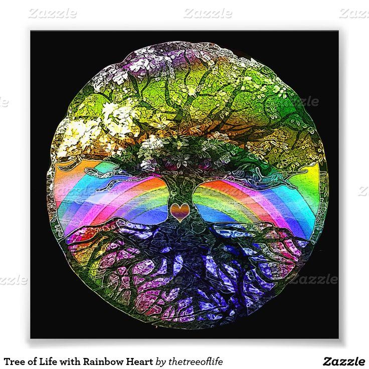 Árvore de vida com coração do arco-íris impressão de foto