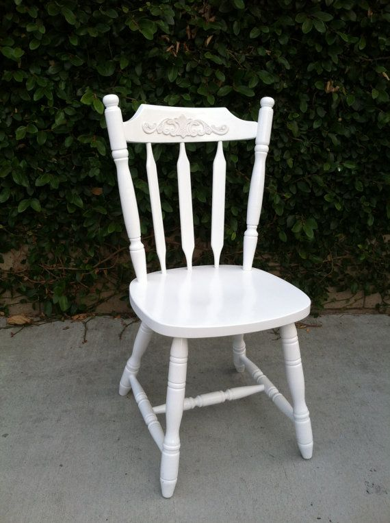 White Dining Chair Shabby Chic Chair Cottage Chic Spindle Chairs Kitchen