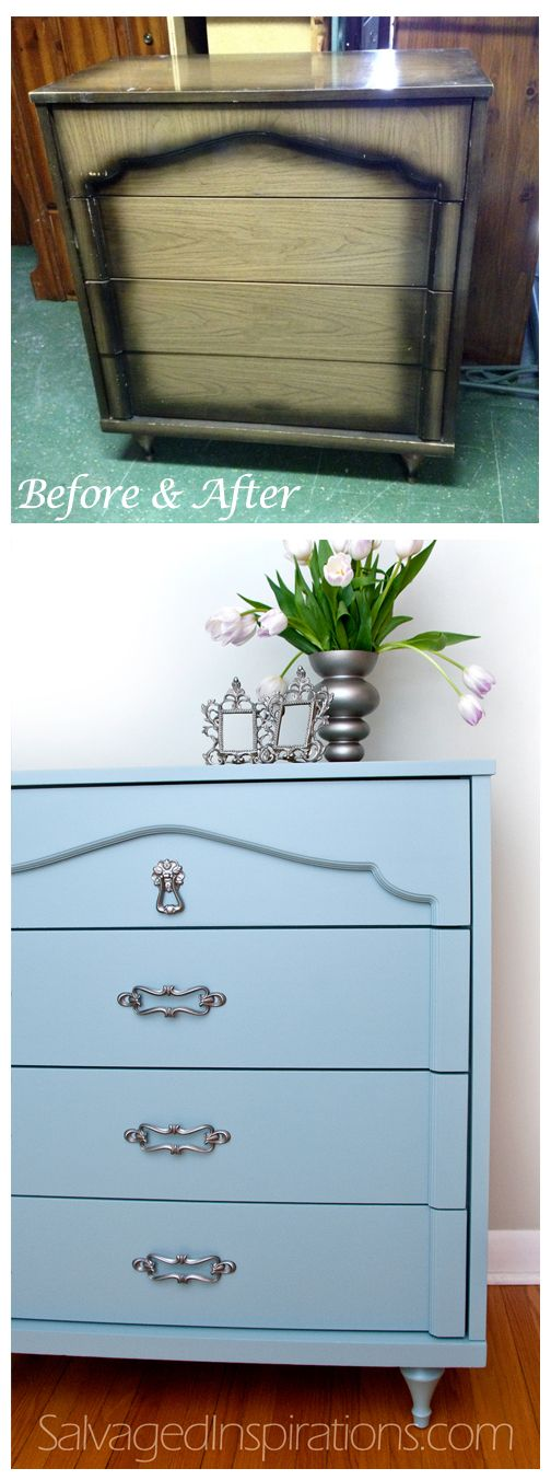 Salvaged Inspirations | Before & After Re-Styled w General Finishes 'Persian Blue' Milk Paint:
