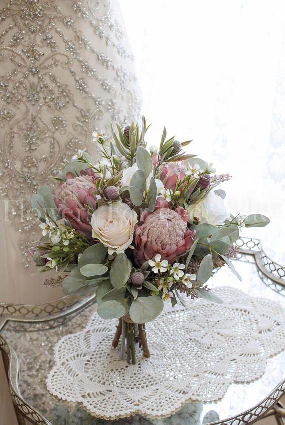 Erin Dusty Pink Protea Roses Rustic Silk Wedding Bridal Bouquet Artificial Wedding Artificial Flowers Wedding Wedding Bridal Bouquets Flower Bouquet Wedding
