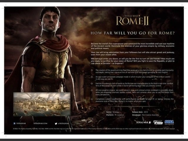 "Total War:Rome II – The Next Level Strategy Game, Coming In 2013 - After the huge success of Total War: Shogun 2, another game of the Total War franchise, the developer is going to launch the 8th installment of the series and direct successor of ""Total War:Rome\"" titled \"" Total War: Rome II\"" in the last quarter of 2013. [Click on Image Or Source on Top to See Full News]"
