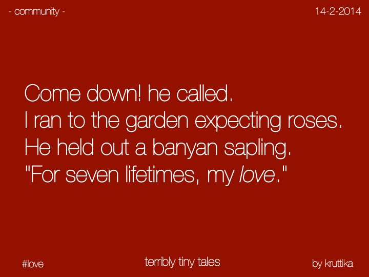 Terribly Tiny Tales--my guy needs to plant me a tree. Not hand me a bouquet of flowers. Plant me a tree and you will win my heart. (can't help it; I'm also a tree hugger ;)