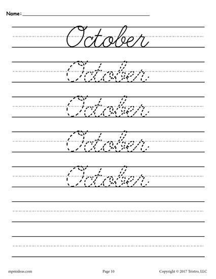 12 Free Cursive Handwriting Worksheets Including The Months Of The
