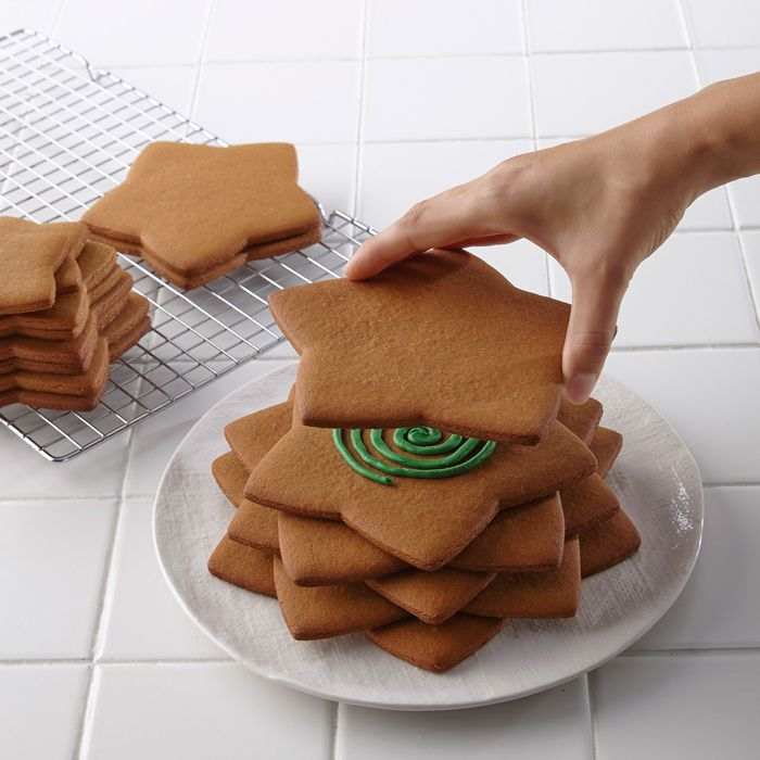 Gingerbread Christmas Tree Step 1 ~ site also says you can preserve your gingerbread creation by letting it dry for at least 24 hours, then use a spray varnish inside and outside.