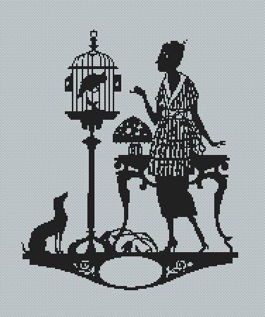 0 point de croix femme silhouette et cage à oiseaux - cross stitch lady with_birdcage silhouette