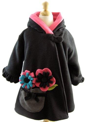 Corky and Company Girls Wrap Swing Coat Winter Coat Fashion F'leece Black Flower
