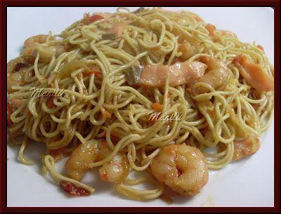 Fideos chinos con gambas y salmón, Receta Petitchef