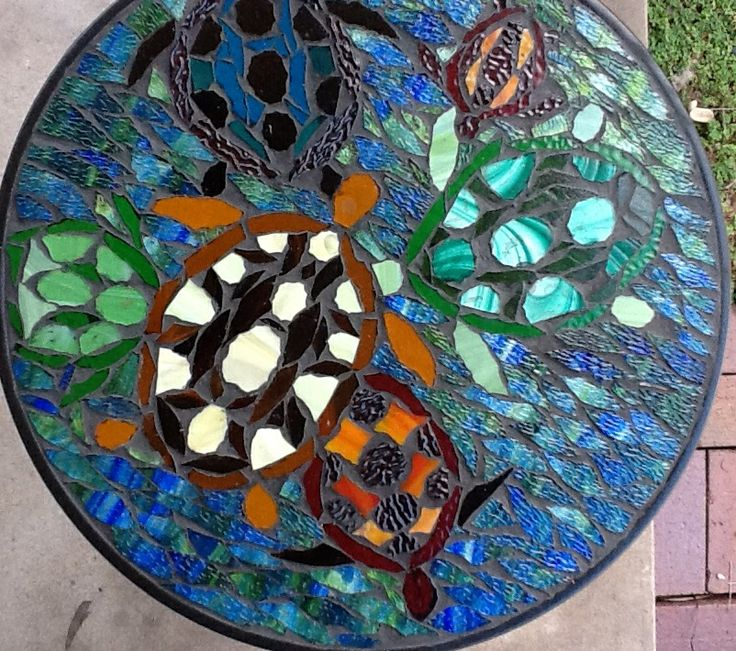 Swimming turtle table. Custom hand made mosaic glass. To order www.facebook.com/wagaitbeachreclusedesign