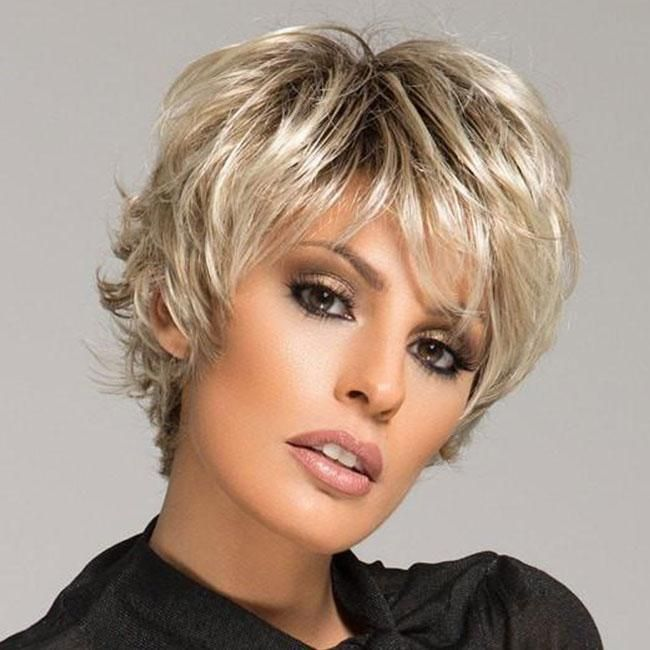 KAMI 080 Spiky Layered Short Straight Synthetic Wig with Bangs