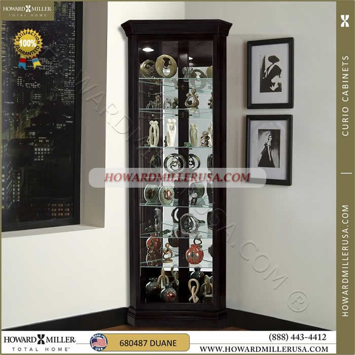 680 487 Howard Miller Black Corner Curio Display Cabinet This Beautiful Corner  Curio Display Cabinetu0027s Beveled Glass Door Offers A Full Picture Frame View  ...