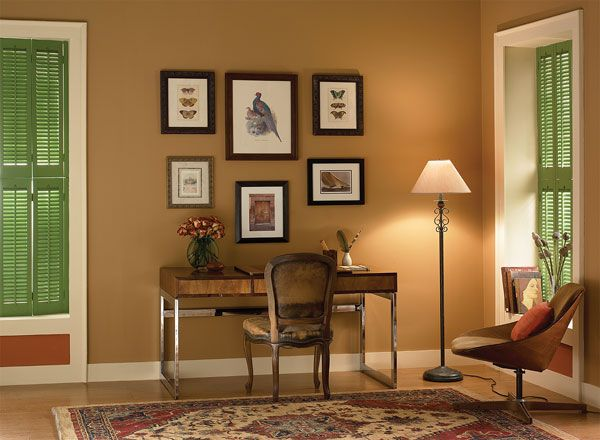 Warm, Neutral Home Office  tyler taupeHC-43walls  cloud whiteOC-130trim  warmed cognacAF-235accent  Add Color Samples to Cart  STORE LOCATOR  EMBED PALETTE  ABOUT THIS ROOM  Rich tyler taupe (HC-43) contrasts beautifully with this office's rich wood furnishings.