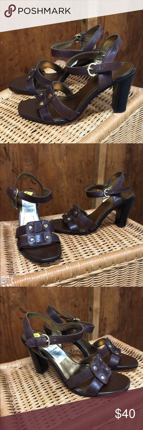 "Circadian Joan & David Heeled Sandals Size 6 1/2 Beautiful high heel sandals by Joan & David, brown leather uppers, man made soles. Never worn. Tags still in place. Size 6 1/2 M 3 1/4"" heels Please make offer. Thank you! Circa Joan & David Shoes Heels"