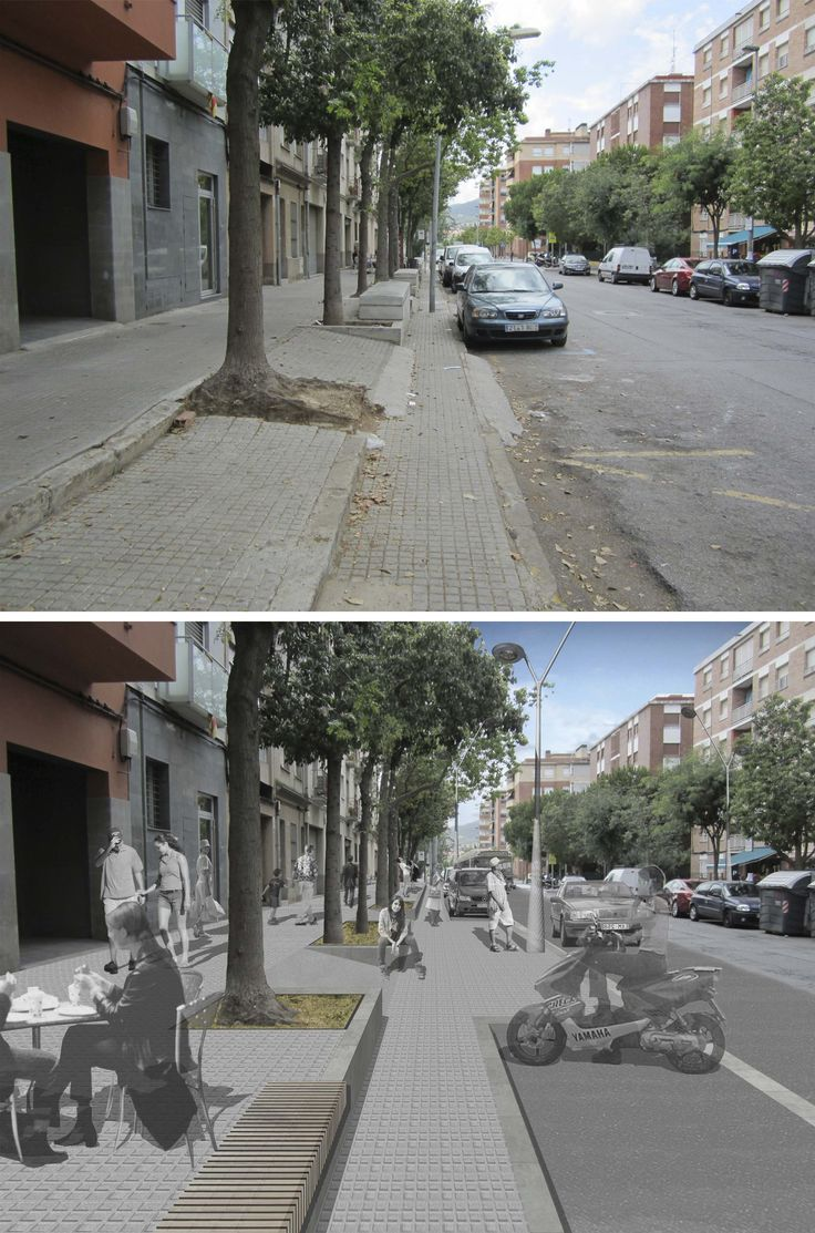 "Current state and proposal for ""Ramon y Cajal"" Street, Sant Feliu de Llobregat, Barcelona."