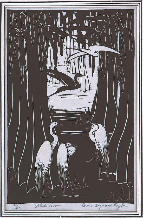 White Herons - linocut - Anna Heyward Taylor, 1879-1956 U.S.A.