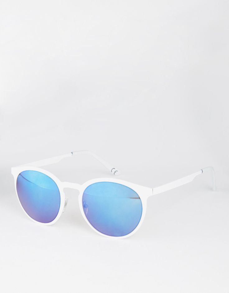 ASOS+Flat+Front+Metal+Round+Sunglasses+In+White