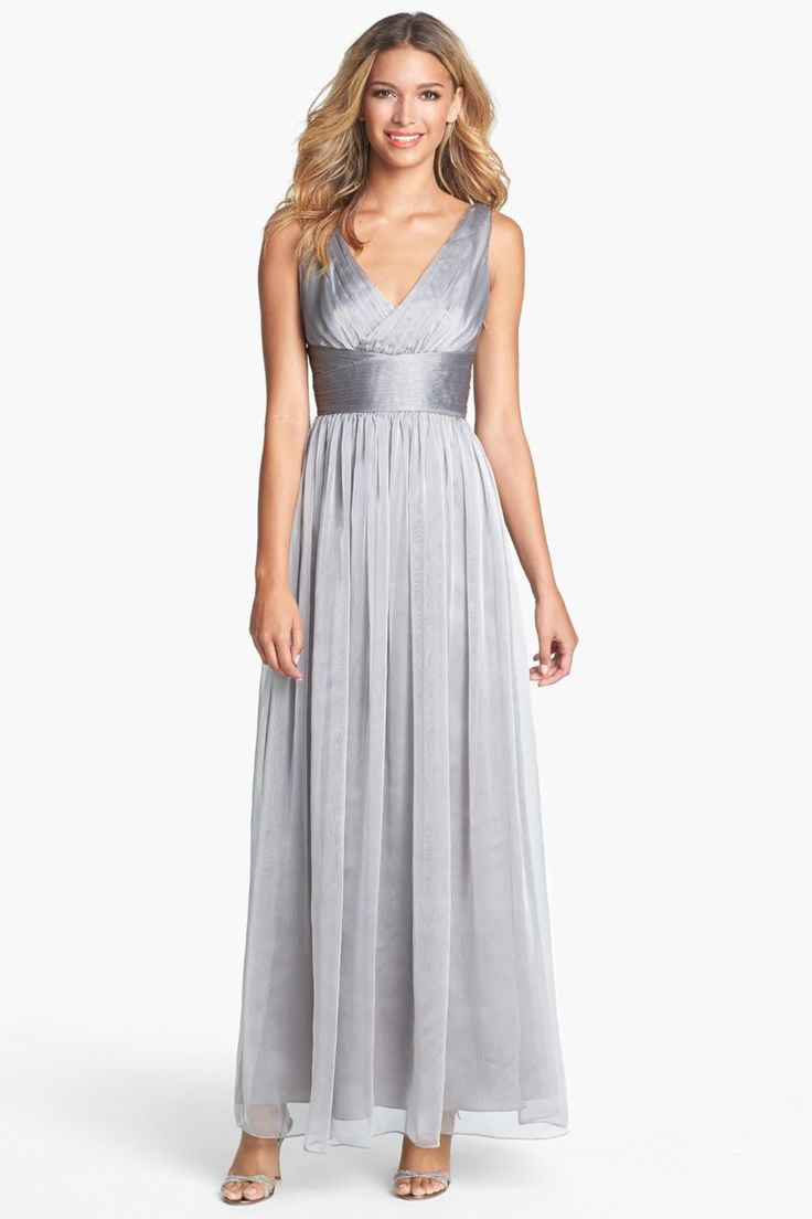 ML Monique Lhuillier   ML Monique Lhuillier Bridesmaids Sleeveless Ruched Chiffon Dress (Nordstrom Exclusive)   Nordstrom Rack