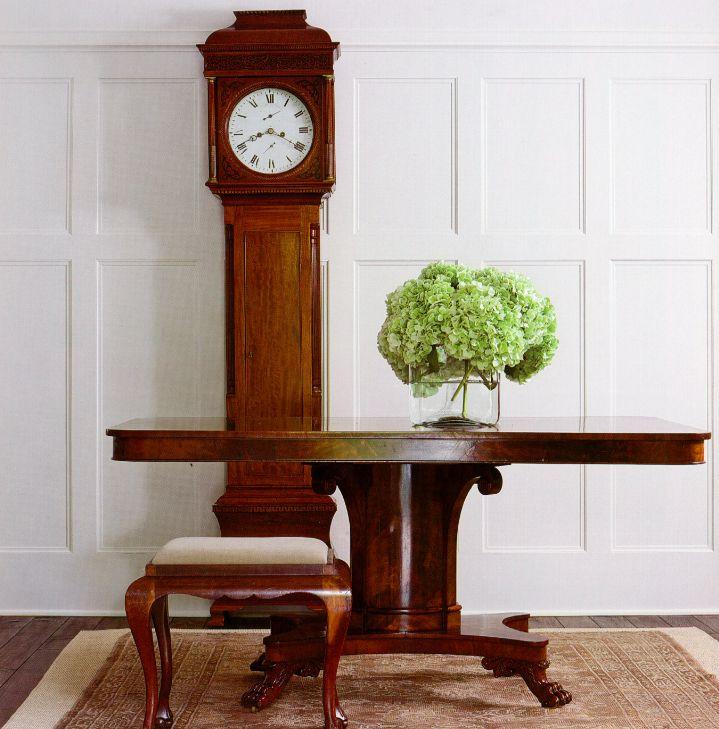 Stunning Clock, Table With Hydrangeas   Darryl Carter