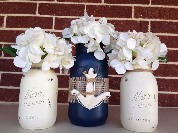 RESERVE LISTING for AMYL/ set of 6/ Anchor Hand Painted Mason Jar Set
