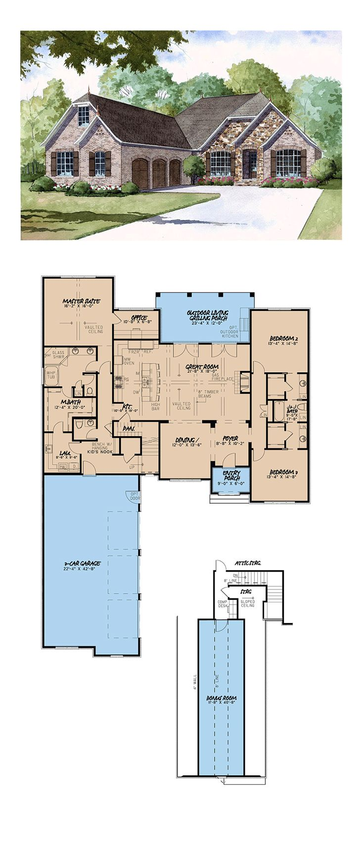 European House Plan | Total Living Area: 2532 SQ FT, 3 bedrooms and 2.5 bathrooms. #europeanhome