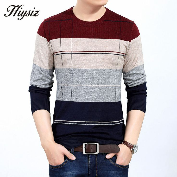 Men Knitted Cashmere Wool Pullover Men Fashion Striped O-Neck Pull