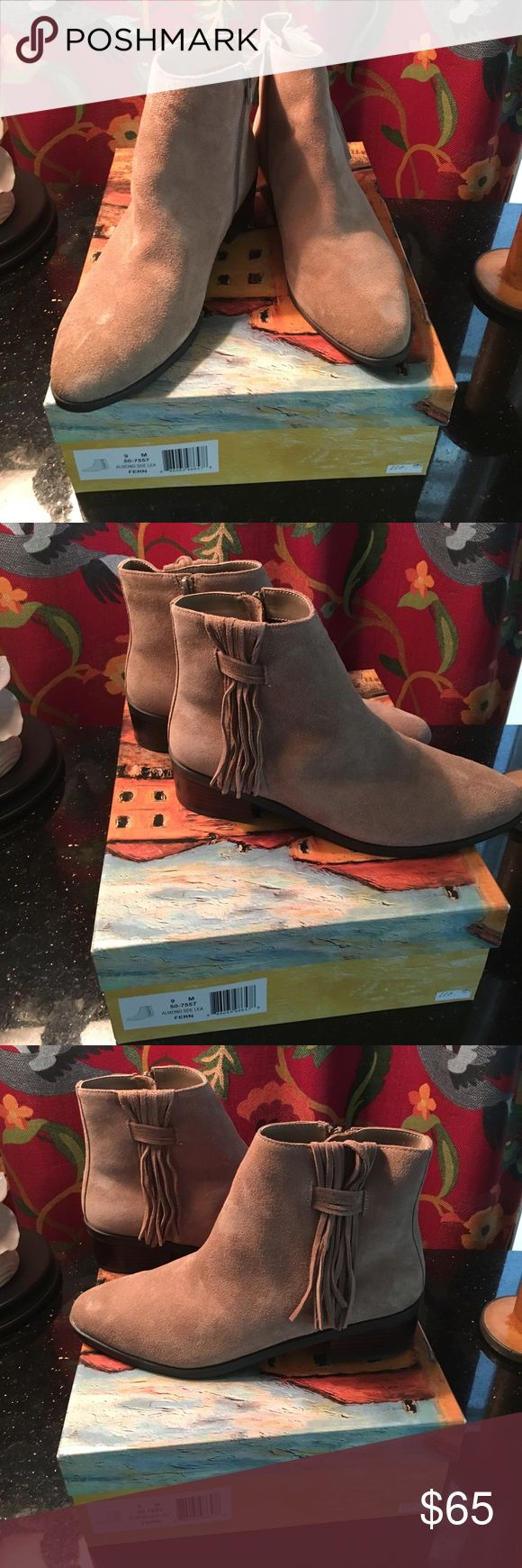 Bella Vita Booties Beautiful new taupe suede boots with fringe at the side and inner zipper Bella Vita Shoes Ankle Boots & Booties