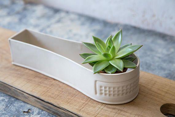Blanco cerámica plantador, plantador de minimalista, maceta suculenta, cactus plantador, plantador de la moderna, titular de planta de aire, Jardinera interior, regalo de jardinería