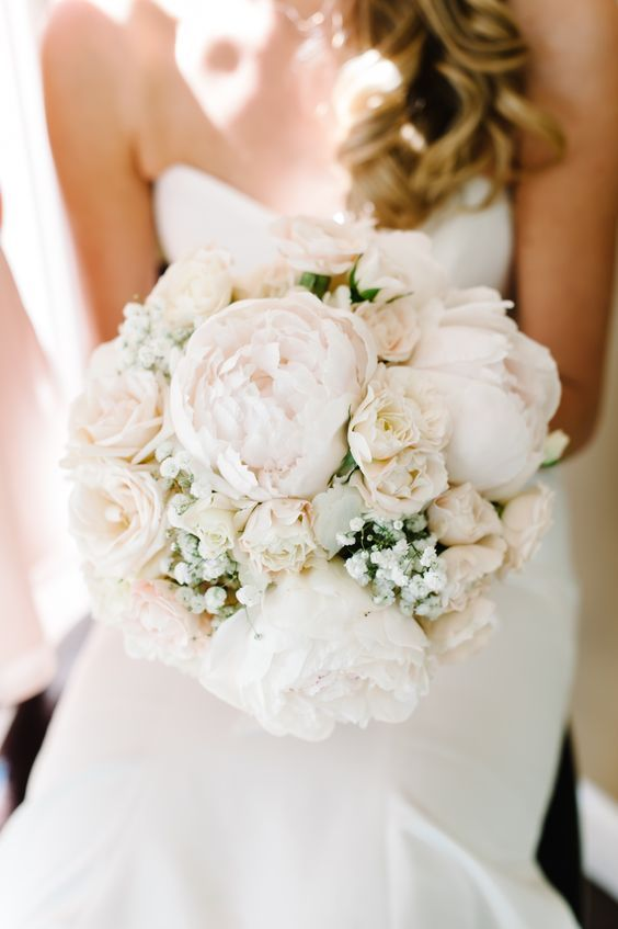 Blush and Gold wedding Decor / Blush and Gold Wedding flowers / hydrangeas, garden roses, roses, peonies, babys breath / bridal bouquet: