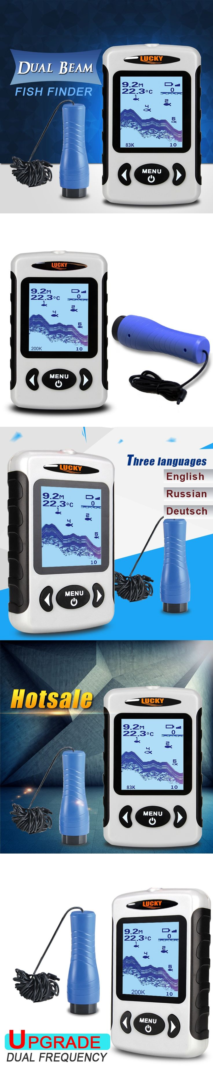 """LUCKY FF718D-Ice Portable Fish Finder 2.2"""" LCD Screen 200KHz/83KHz Dual Sonar Frequency 100M Fish Detector for Ice Fishing B2"""
