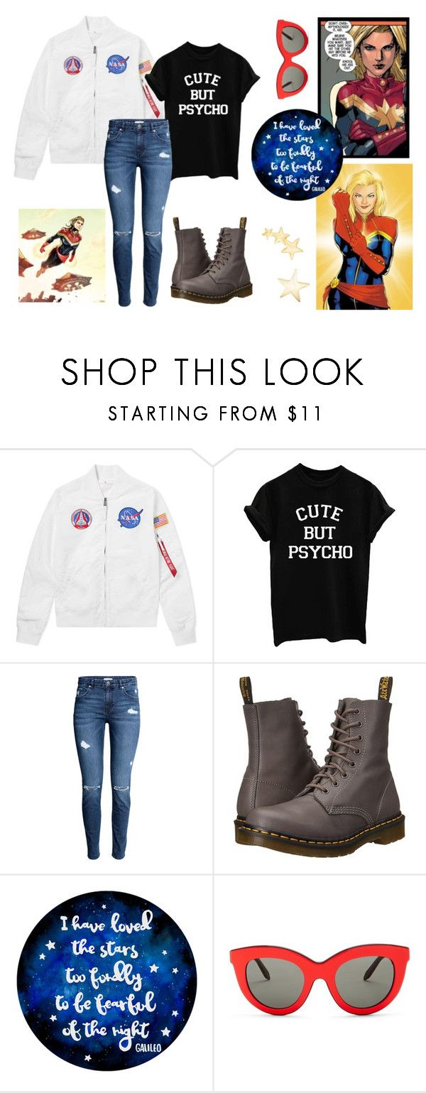 """knock his ass out//carol danvers"" by miri-rose03 ❤ liked on Polyvore featuring Marvel, Dr. Martens, Victoria Beckham and Kenneth Jay Lane"