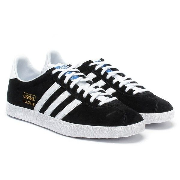 Adidas Originals Black White Suede Gazelle OG Trainers ($98) ❤ liked on Polyvore featuring shoes, sneakers, suede shoes, adidas originals trainers, white and black sneakers, white black shoes and suede sneakers