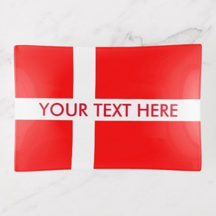 Danish flag custom trinket tray design - monogram gifts unique design style monogrammed diy cyo customize