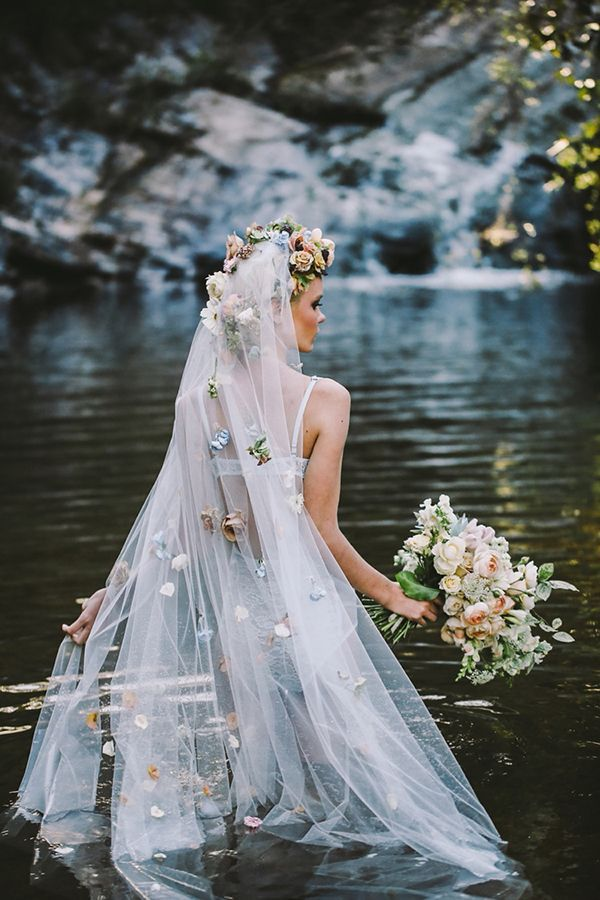 Floral wreath and veil | Ophelia-inspired bridal fashion editorial photographed by Lara Hotz