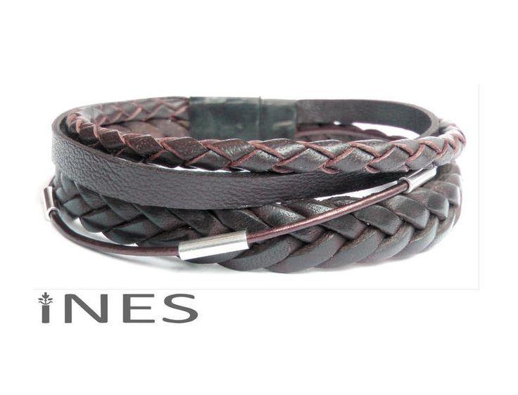 Armbänder - p580- Lederarmband Männer mit verschiedenen Led... - ein Designerstück von __INES__ bei DaWanda