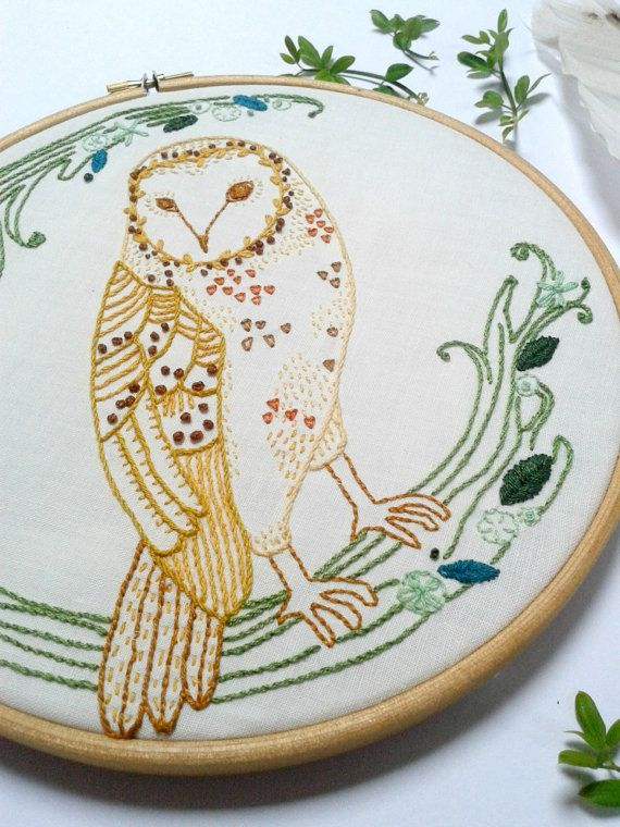 This is an instant downloadable PDF embroidery pattern of a sweet Barn owl design. When finished the design can be framed in an 8 embroidery hoop and decorate your wall, or use as a centre piece for a cushion....or anything else your imagination can come up with!  On buying this pdf you will receive instant access to a 4 page PDF.  >>PDF CONTENTS: *sweet barn owl design * reverse image of the design (required for some transferring techniques) * suggested colour and embroidery stitch guide…