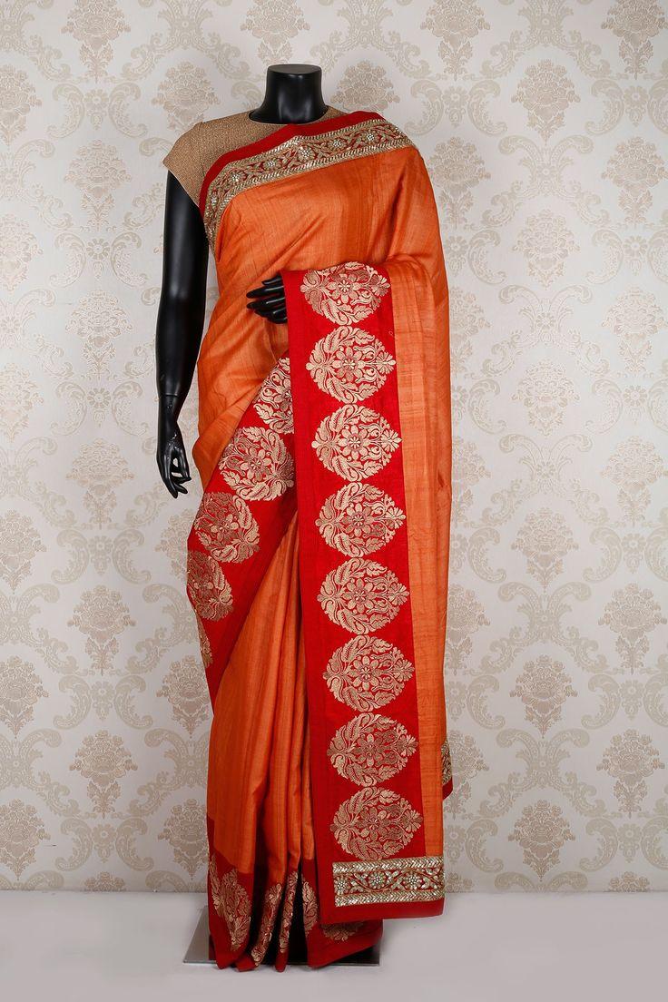 #Orange & #red tussar silk exquisite #saree with red & #gold border -SR11911