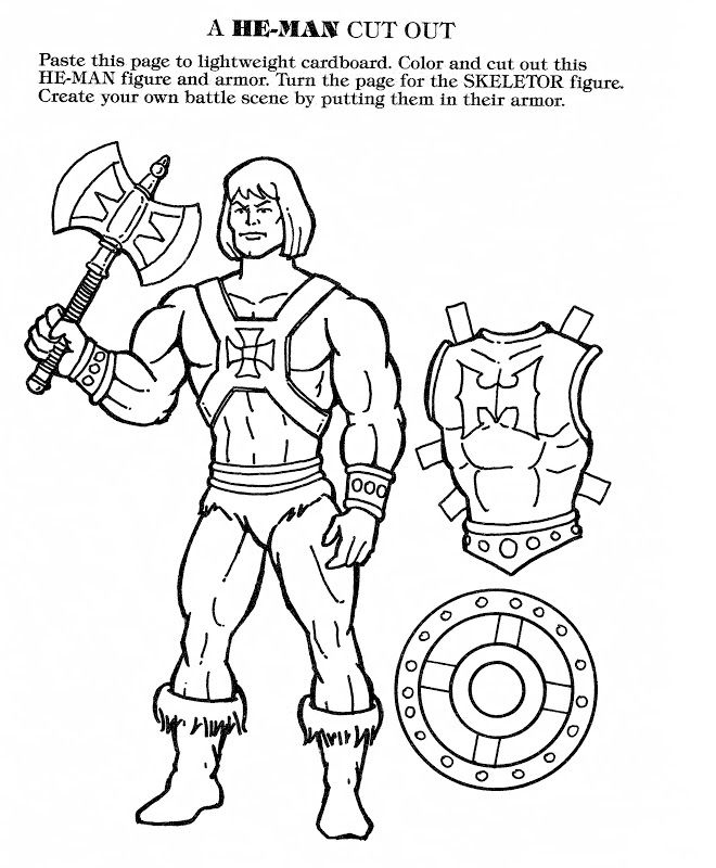 HeMan and Skeletor Cutouts in Coloring Book late 1980s