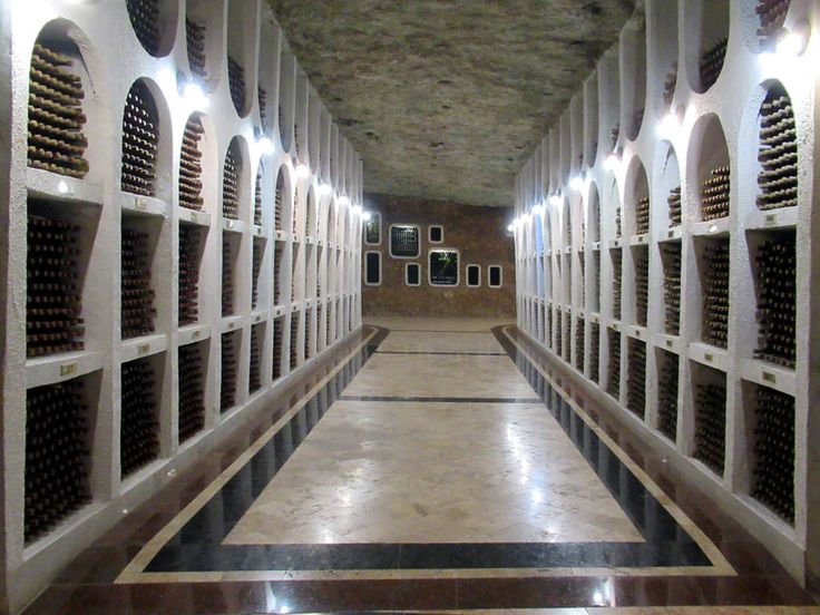 The Cricova Winery just north of Chisinau, Moldova, ages its production in underground tunnels such as this.