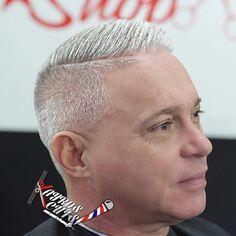 Gray Hard Part Haircut