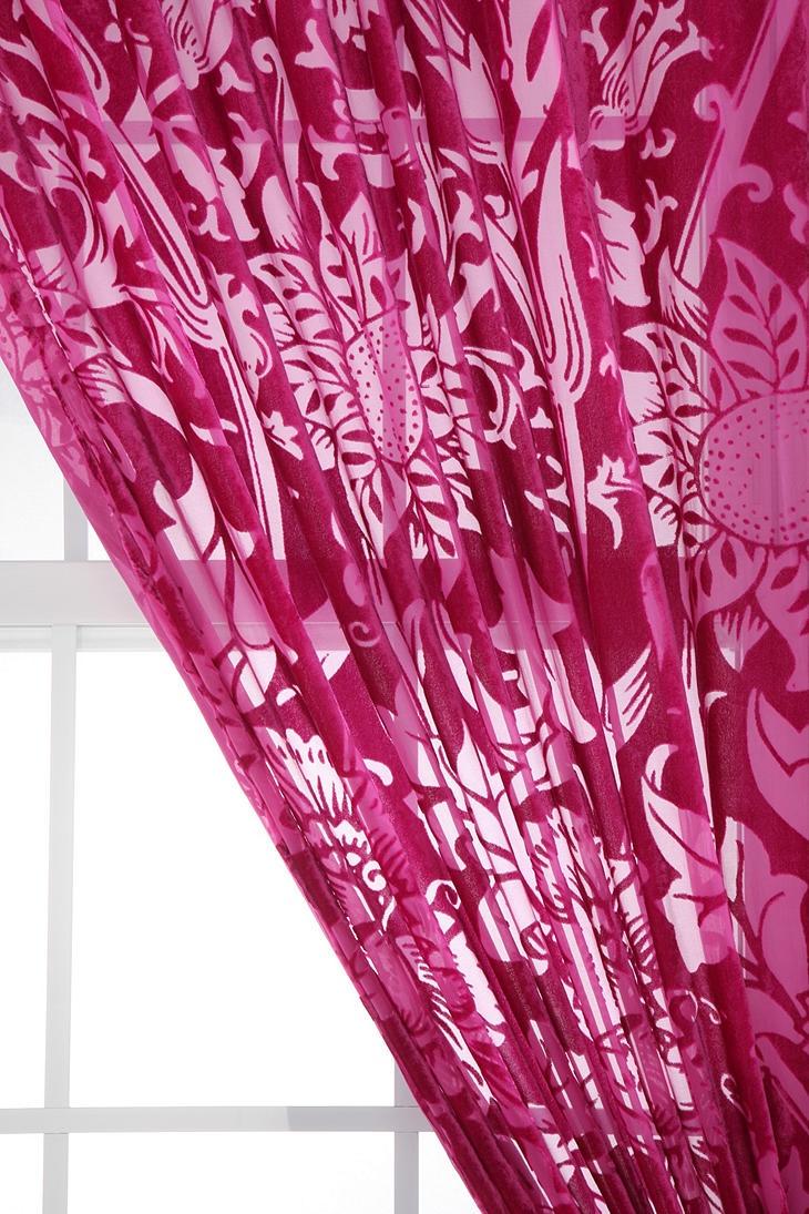 Hot pink curtains - Nouveau Garden Velvet Burnout Curtain 59 00