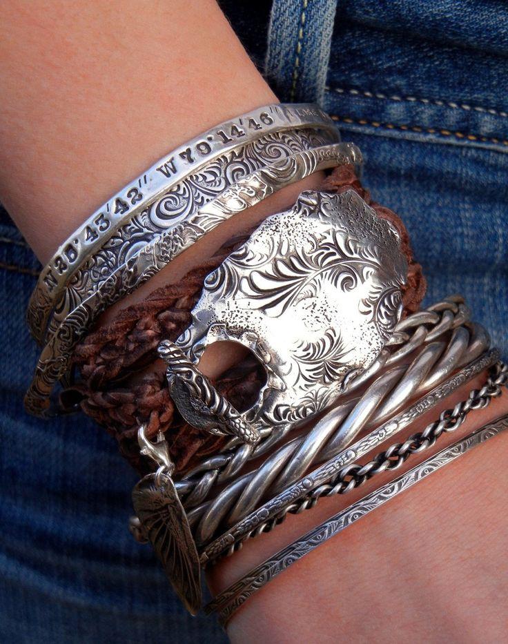 Hippie Jewelry, Stacked Leather Wrap Bracelet, Boho Jewelry, Sterling ...