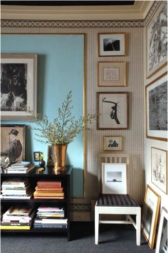 Introduce colour with a large-scale wall panel - lovely! (Albert Hadley)