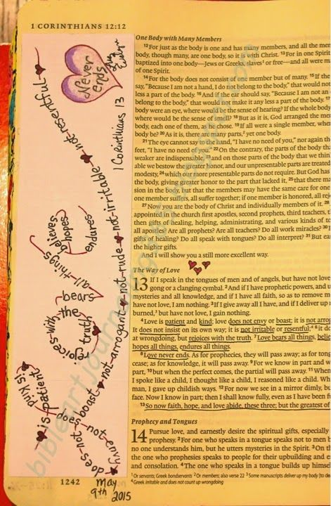 lots of stuff on here. Easy Bible Art Journaling Journey: 1 Corinthians 13 (May 9th)