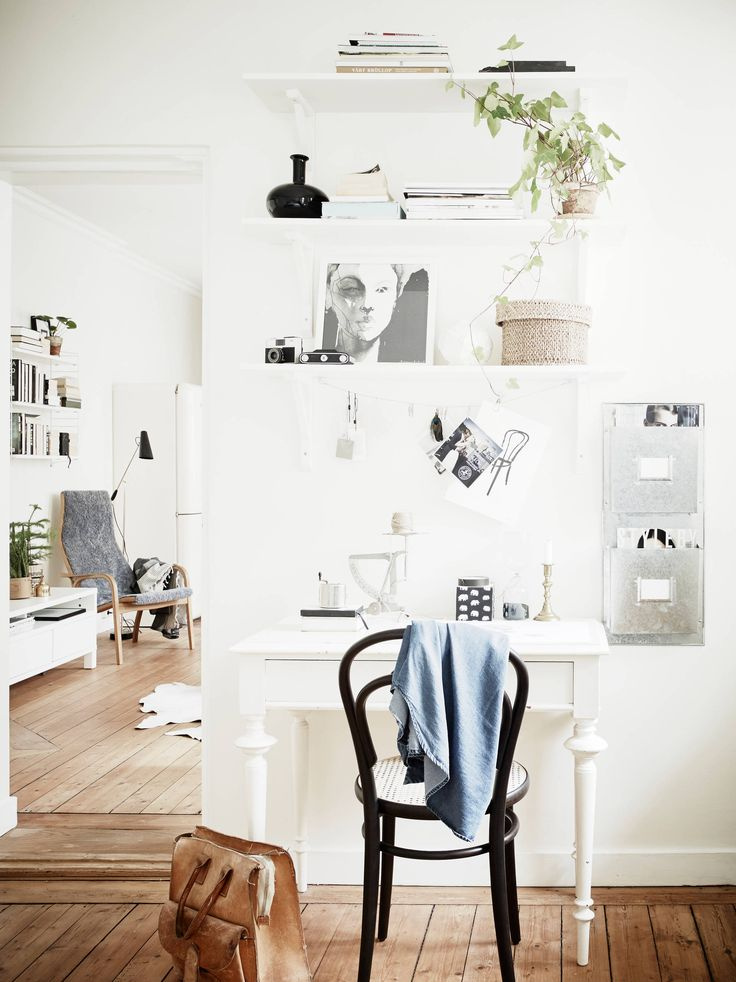 Vibrant white home with old hardwood floors - via cocolapinedesign.com