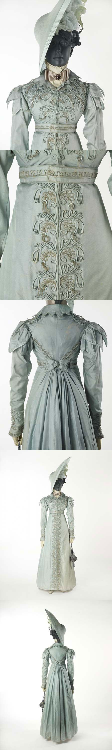 This pelisse was made for a trousseau in 1823. Kudos to whoever it was who combined the photos of this beauty into one pin.