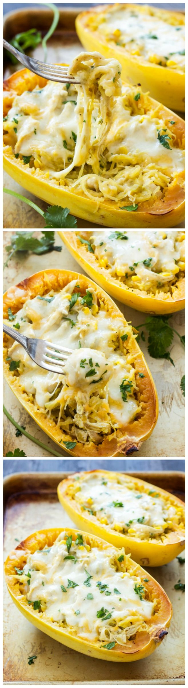 Green Chile Chicken Enchilada Stuffed Spaghetti Squash - Change up your enchilada game and stuff your filling in spaghetti squash instead! You won't miss the tortillas or time spent rolling up the enchiladas when you make this Green Chile Chicken Enchilada Stuffed Spaghetti Squash!